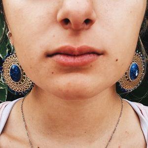 gold/blue statement earrings